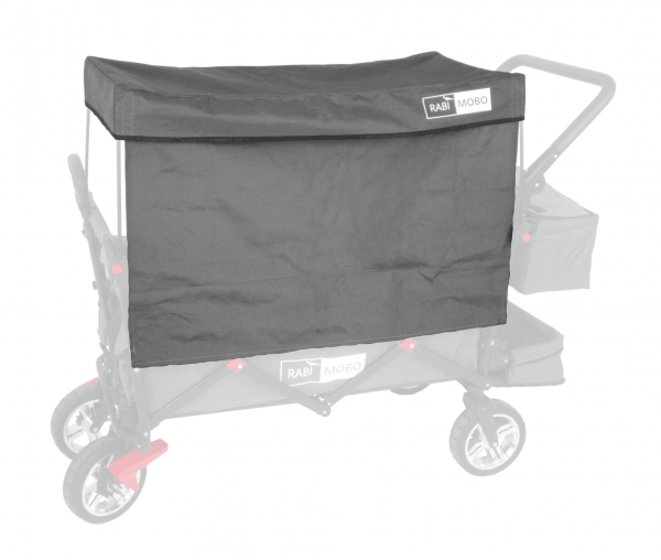 UV-geschütztes Sonnendach GRAU mit Vorhängen für RABIMOBO Sun Bollerwagen