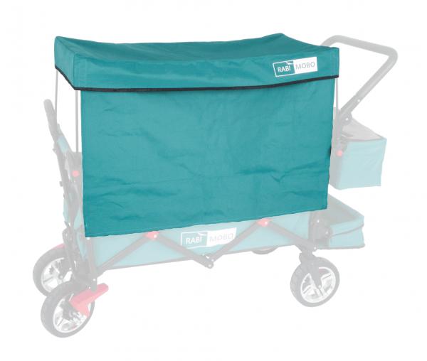 UV-geschütztes Sonnendach PETROL mit Vorhängen für RABIMOBO Sun Bollerwagen