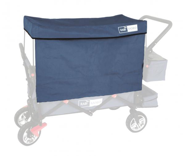 UV-geschütztes Sonnendach DUNKELBLAU mit Vorhängen für RABIMOBO Sun Bollerwagen