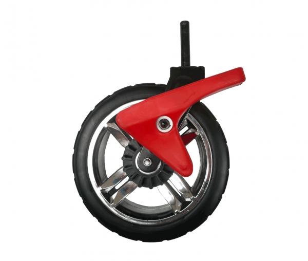 PU-Vorderradset LINKS inkl. Aufhängung SCHWARZ & Bremssystem ROT für RABIMOBO Sun Bollerwagen